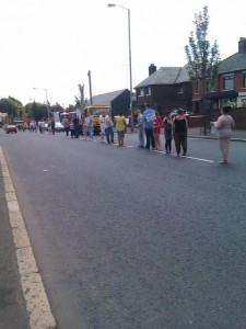 Around 50 GARC supporters hold a white line protest in north Belfast as tensions mount in the area ahead of the Twelfth