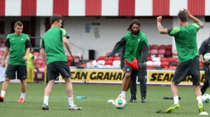 Celtic striker Georgios Samaras training at Solitude, north Belfast on Tuesday evening