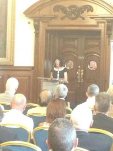 Belfast's first poet Laureate Sinead Morrissey reads from her poem in the City Hall