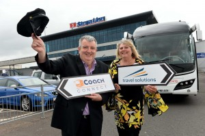 Pictured celebrating the partnership is Peter McMinn, Managing Director, Travel Solutions and Diane Poole OBE, Head of PR and Communications, Stena Line.