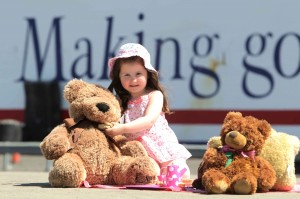 CHILD'S PLAY: Little Sophie Murray (4) from Belfast enjoys a Teddy Bears picnic with Stena Line.