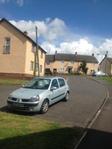 A silver Renault Clio which was attacked on the Suffolk estate on Friday night