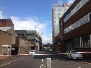 The scene of the security alert in Tomb Street, Belfast on Thursday morning