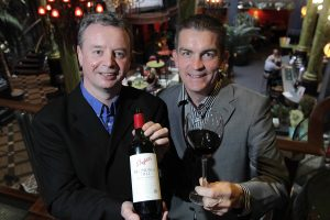 CHEERS... Gareth Bradley (right) managing director of Woodford Bourne NI joins Penfolds representative Master of Wine Martin Moran to announce that the Lisburn-based company has secured an exclusive contract to distribute the iconic Australian wine brand Penfolds across Northern Ireland.