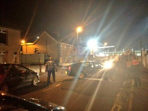 The scene of the security alert at Ballymena Showgrounds on Friday night where a pipe bomb was found