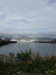 The Crystal Serenity docks in Belfast on Tuesday