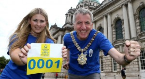 On your marks...Lord Mayor Mairtin O'Muilleoir getting his number for the half marathon