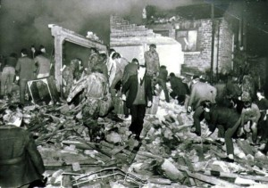 The scene of devastation following the UVF attack on McGurks bar in 1971