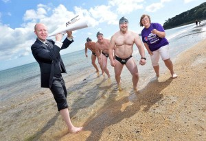 Full Speedo Ahead...Local relay swimming team (l-r) Paul McCambridge, Gerry Meehan and Ciaran Pollock are almost set to take on the challenge of attempting to swim the English Channel.