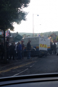 A tense stand off develops in north Belfast on Thursday evening following trouble between republicans and loyalists