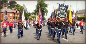 Pride of the Ardoyne flute band on the march in Twaddell Avenue