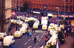 A bird's eye view of the stand between loyalists and police in Belfast's Royal Avenu