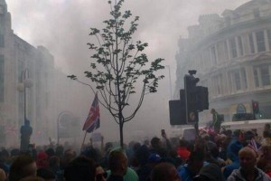 Smoke billows over Royal Avenue on Friday night