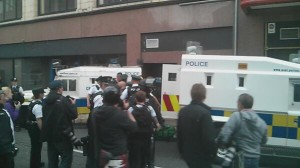 A number of PSNI officers injured during trouble in Royal Avenue on Friday evening