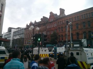 Police are out in large numbers for a loyalist counter protest in Royal Avenue on Friday evening