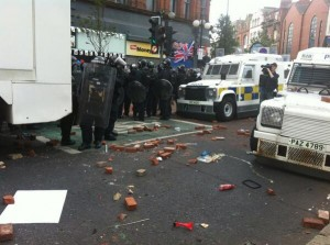 Debris and missiles which were thrown by loyalists at police in Belfast's Royal Avenue last Friday night