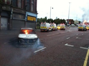 Hijacked car burned by loyalists in north Street