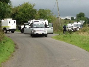 Police in south Armagh following reports a 'beer keg' bomb has been left in Crossmaglen