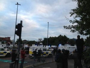 PSNI riot squad used water cannon to push loyalist protestors up the Shankill Road
