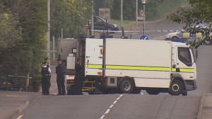 Army technical officers carry out a controlled explosion in south Belfast on Friday evening