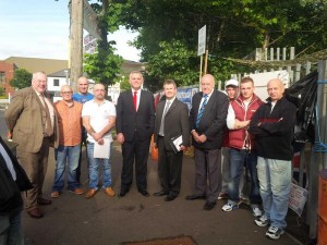 Rev Mervyn Gibson, DUP's Jonathan Bell and Jeffrey Donaldson visit Twaddell Avenue 'civlil rights' camp on Friday