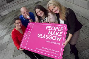 Pictured at the launch is Minty Woolgar (right), Marketing Communications Manager of GCMB, Laura Vass (left) of Glasgow's Leading Attractions,  Sarah Watson of Glasgow International Comedy Festival and comedian Gary Little