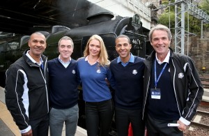 The Ryder Cup captains were joined by Scotland's First Minister Alex Salmond. James Nesbitt was one of the celebrity ambassadors alongside Ruud Gullit, Jodie Kidd, Marvin Humes and Alan Hansen (pictured).