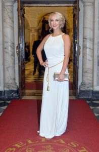 Leah Totton arriveS at last night's glittering Ulster Tatler People of the Year Awards at Belfast City Hall.  The Apprentice 2013 winner was named Celebrity of the Year at the glitzy awards. PIC: Stephen Davidson