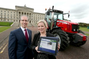 Minister Michelle O'Neill is pictured with BT Chief Executive Colm O'Neill. PICTURE: Kelvin Boyes / Press Eye.