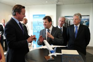LIFT-OFF...Prime Minister David Cameron is pictured with First Minister Peter Robinson, Michael Ryan from Bombardier and Pierre Baudoin, President and Chief Executive of Bombardier during a visit to the Bombardier Factory in east Belfast this morning, PICTURE: Kelvin Boyes / Press Eye.