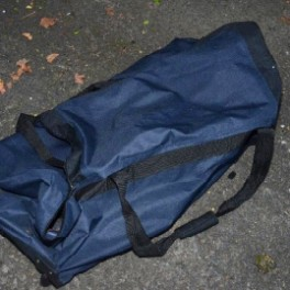 The holdall detectives believe was used to carry a mortar device to its launch site last week