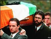 Gerry Adams provoked anger when he carried IRA bomber Thomas Begley