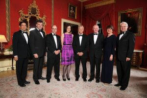 Pictured at the Gala Dinner at Hillsborough Castle this evening are, from left to right:  Japanese Minister Naoki Ito, Alastair Hamilton, Chief Executive of Invest NI; US Consul General, Gregory Burton; Secretary of State Theresa Villiers; First Minister Peter Robinson; deputy First Minister Martin McGuinness;  Enterprise Minister Arlene Foster and Canadian High Commissioner, Gordon Campbell. PICTURE: Kelvin Boyes / Press Eye.