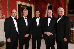 From left to right US Consul General, Gregory Burton; Peter Robinson; Japanese Minister Naoki Ito,   Martin McGuinness and Canadian High Commissioner, Gordon Campbell.