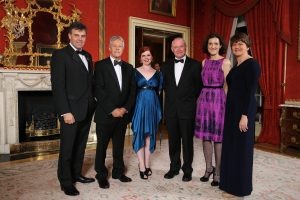 From left to right: Alastair Hamilton,Chief ExecutiveofInvest NI; PeterRobinson; Young EntrepreneurOrlagh McGahan; Martin McGuinness; Secretary of State for Northern Ireland Theresa Villiers andEnterprise Minister Arlene Foster.