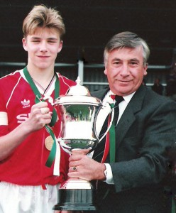 David Beckham with Manchester Utd at the Milk Cup in 1991