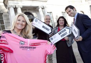 L-R) Fiona Cunningham from the Northern Ireland Tourist Board (NITB) joins legendary Irish cyclist and former Giro winner Stephen Roche, Naomi Waite from NITB and Giovanni Nipoti from RCS Sport as they gear up for next year's Giro d'Italia cycle race