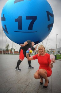 Strongman Glenn Ross and Northern Ireland beauty, Alison Clarke prepare for the launch of new Lotto on Saturday, October 5