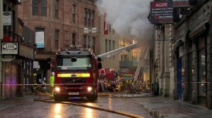 Fire crews at the scene of shop blaze in Rosemary Street, Belfast