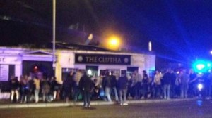 The scene of the helicopter crash at a pub in Glasgow on Friday night