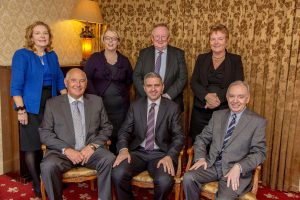International Fund for Ireland Board Members (Back row L-R): Dorothy Clarke; Rosemary Farrell; David Graham; Siobhan Fitzpatrick; (front row) Winston Patterson; Adrian Johnston, Chairman of the Fund; and Billy Gamble.
