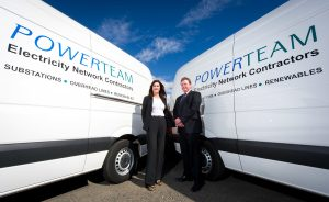 Michael Egner, Procurement Manager, Powerteam congratulates Janice Cadden of Lex Autolease after they were awarded a 5-year £3.7m contract to manage Powerteam's fleet of 140 commercial vehicles.