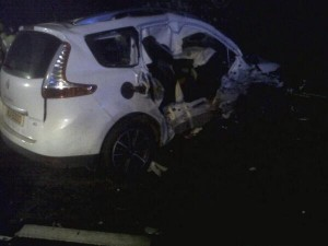 One of the cars involved in the four vehicle pile up in Co Fermanagh on Friday night