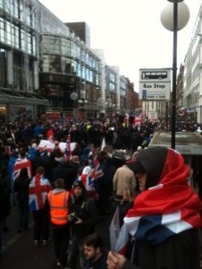 Loyalist protestors gather in Royal Avenue in Belfast city centre