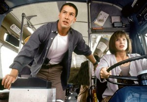 The film 'SPEED' with Sandra Bullock behind the wheel with Keanu Reeves