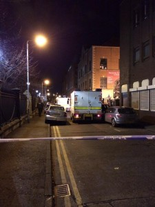 Army technical officers in Talbot Street, Belfast on Friday night after small bomb explosion