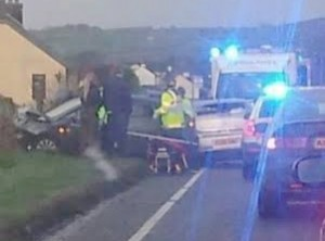 Ambulance crews at the scene of a five-car pile-up on Sunday afternoon