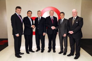 First Minister Peter Robinson and deputy First Minister Martin McGuinness met with President Masami Yamamoto of Fujitsu Limited during their visit to Japan.  The Ministers thanked Fujitsu for its long standing commitment to Northern Ireland and discussed the possibility of further investment in the future.  As part of their visit the Ministers also enjoyed a tour of the company's netCommunity technology demonstration centre. Pictured left to right are: Alastair Hamilton from Invest NI,  President Masami Yamamoto of Fujitsu Limited, First Minister Peter Robinson, deputy First Minister Martin McGuinness, Fujitsu Corporate Vice President Akihisa Kamata, and Greg McDaid, Director for Northern Ireland at Fujitsu UK & Ireland. Picture by Kelvin Boyes / Press Eye.PICTURE: KEVLIN BOYES/PRESSEYE