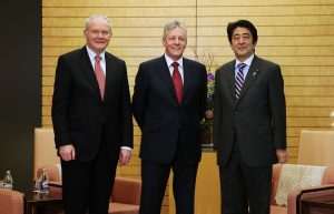 Peter Robinson and Martin McGuinness are pictured meeting Prime Minister Abe at his office in Tokyo. Picture by Kelvin Boyes / Press Eye.