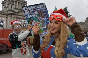 SECRET SANTA SQUAD:  James Stewart (21) and Meagan Green (24) of the National Lottery Secret Santa Squad arrived in Belfast City Centre today (December 12) to spread some festive cheer